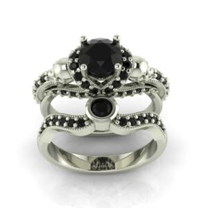 V Halo Gothic Skull Engagement Ring