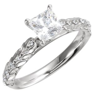 Accented Sculptural Engagement Ring