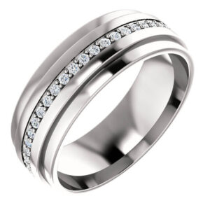 Ridged Diamond Wedding Ring