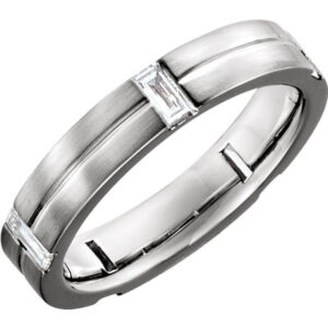 Grooved Diamond Wedding Ring