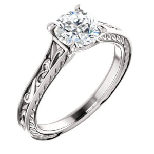 Scrolled Vintage Engagement Ring