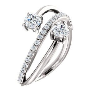 2 Stone Accented Bypass Ring