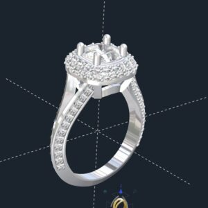 Split Shank Double Halo Engagement Ring