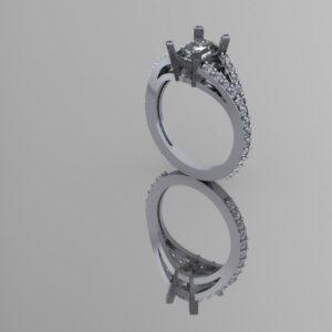 Emerald Split Shank Engagement Ring
