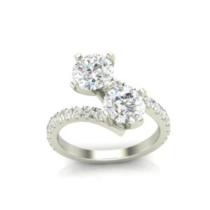 Accented 2 Stone Bypass Ring