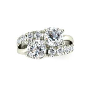 French Pave 2 Stone Engagement Ring