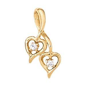Gemstone Or Diamond Double Heart Pendant
