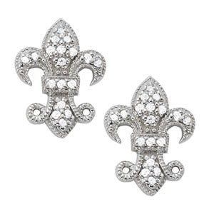 Milgrained Fluer De Lis Earrings