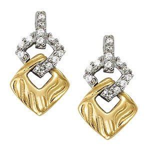 2 Tone Diamond Earrings