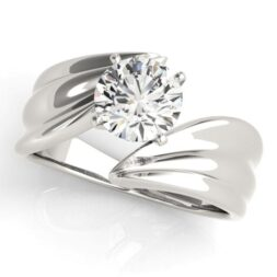 Sculptural Bypass Solitaire Ring