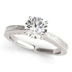 Engraved Solitaire Engagement Ring