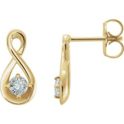 Infinity Diamond Solitaire Earrings