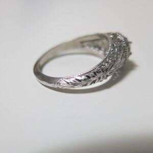 Hand Engraved Art Deco Halo Engagement Ring