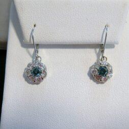 Blue & White Diamond Halo Earrings