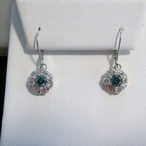 2 2/3 TCW Diamond and Blue Diamond Earrings – $1400