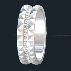 Diamond Pyramid Men's Wedding Ring