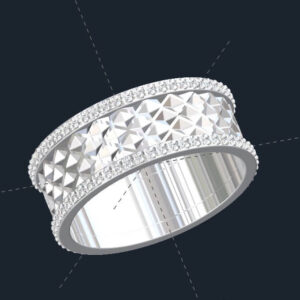 Tessellated Diamond Mens Wedding Ring