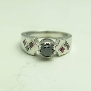 Black Diamond & Red Ruby Batman Bezel Engagement Ring