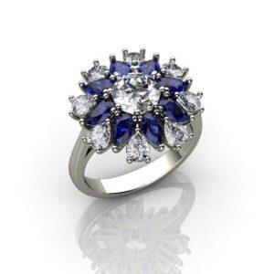Diamond & Sapphire Floral Ring