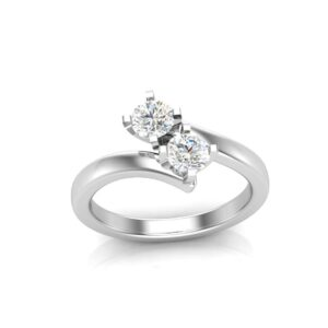 2 Stone Bypass Solitaire Ring