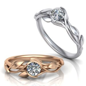 Floral Tension Set Solitaire Engagement Ring