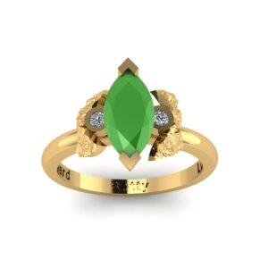Jade & Diamond Floral Engagement Ring
