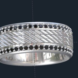 Talladega Tire Tread Diamond Wedding Band