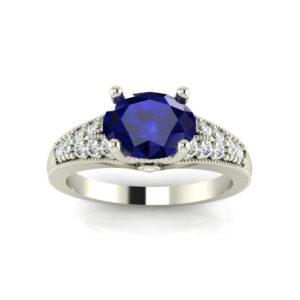 East West Engraved Split Shank Engagement Ring