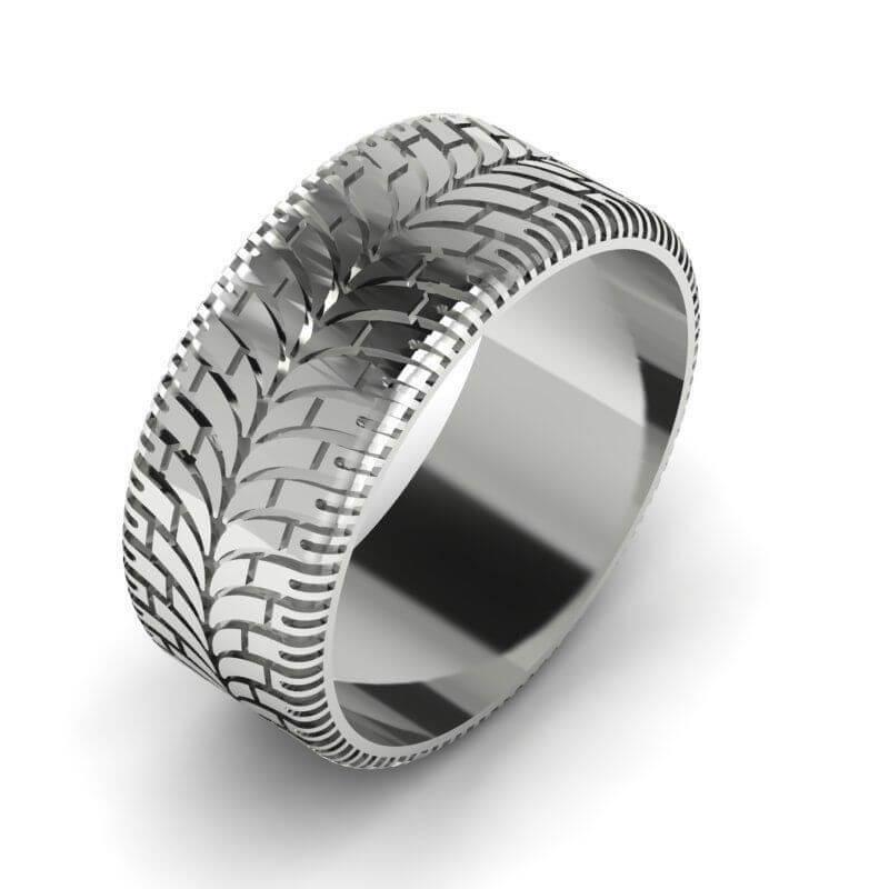 0ac6579bc Modern Tire Tread Wedding Ring   Custom Wedding Rings   Valeria FJ
