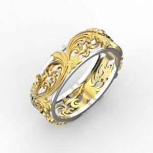 2 Tone Floral Ring