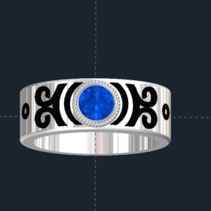 Scrolled, Bezel Set Cabochon Ring