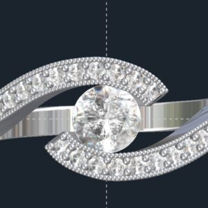 Tension Set Milgrained Bypass Engagement Ring