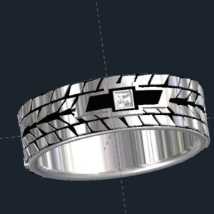 Chevy Emblem Tire Tread Wedding Bands