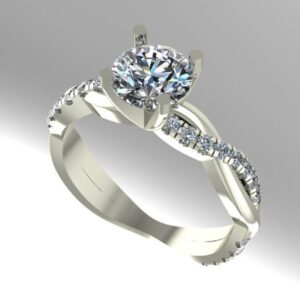 French Pave Crossover Engagement Ring
