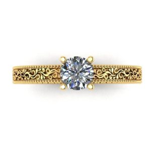 Vintage Scrolled Solitaire Engagement Ring