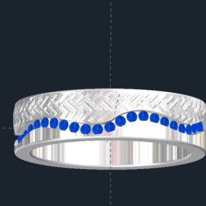 Wavy Men's Sapphire Wedding Ring