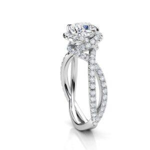 Split Shank Overlapping Halo Engagement Ring