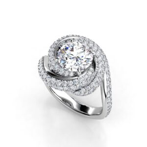 Swirling Halo Engagement Ring